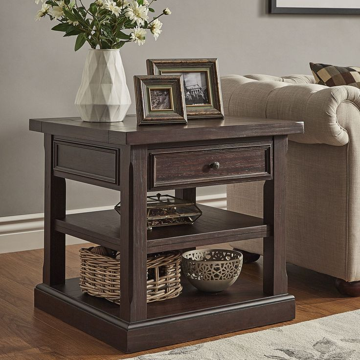jenson espresso wood 1drawer end table by tribecca home espresso end table
