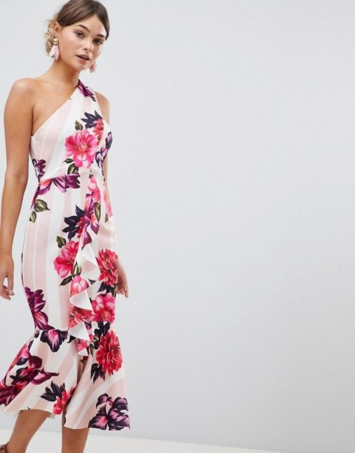 83d9f231a03 DESIGN one shoulder midi dress with floral and stripe print