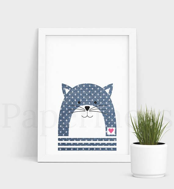 Gorgeous printable wall art for the nursery. This listing is for the CAT WITH DENIM AND FLOWER DETAIL (see first photo). For plain denim animals, please visit my shop. ***BUNDLE*** Buy 6 animals with denim and flower detail for $35. Use coupon code BUY6FOR35 at checkout. I offer free optional personalisation, just place a name in the comments section. You will receive 3 High Resolution JPG Files - A3, A4 and A5. If you would like another size, let me know in the NOTES section. There will...