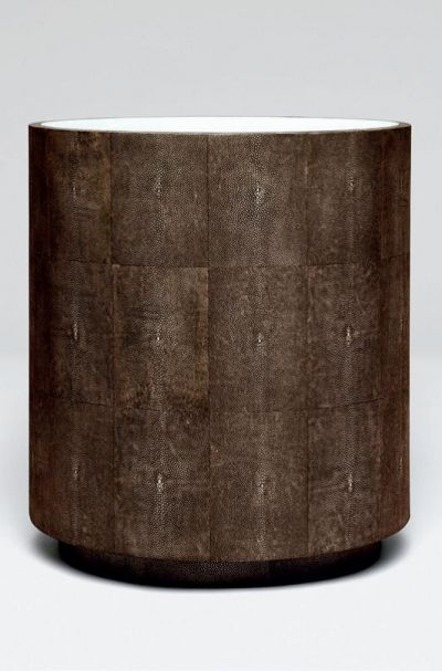 Made Goods Cara Side Table In Mushroom Faux Shagreen