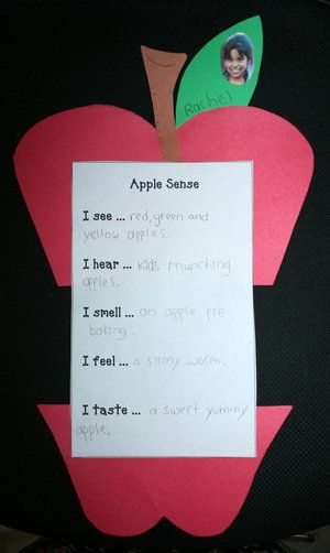 "FREE printable. Encouraging students to use all of their senses + adjectives, when they write, makes for better results.  Completed projects make a cute b. board, or look wonderful hung back-to-back from the ceiling. ""A crop/bushel of great writing."" or ""Getting to the core of writing."""