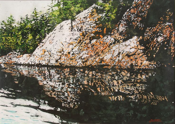 "slow drift, killarney, georgian bay 16"" x 22"" micheal zarowsky watercolour on arches paper available $700.00"