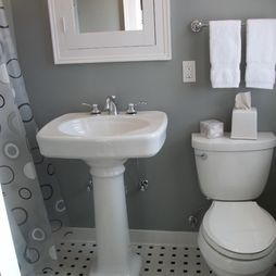 White And Grey Bath With Pedestal Sink. Bathroom Pedestal Sinks Design,  Pictures, Remodel