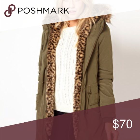 *** Flash Sale*** Oasis parka with leopard lining Size S 95% new Oasis Jackets & Coats