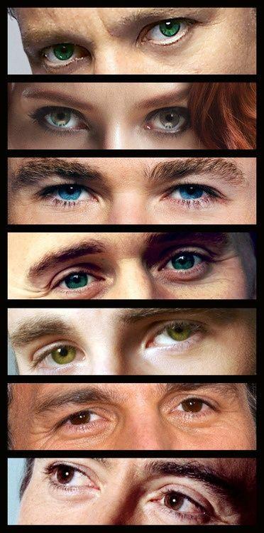 the eyes of the avengers. Hawkeye, Black Widow, Thor, Loki, Captain America, Banner, Iron Man