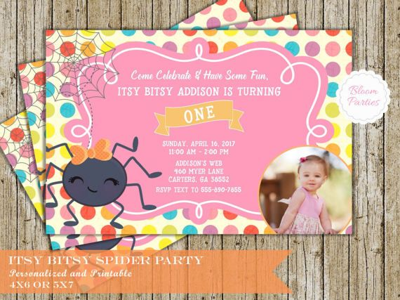 Itsy Bitsy Spider Invitation for First Birthday Party for Girl 1st Birthday, with or without photo