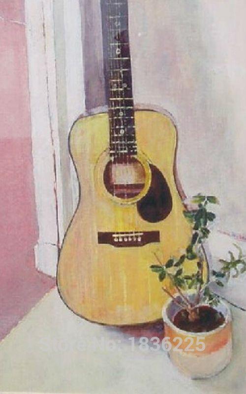 usine prix de bonne qualit u00e9 peinture  u00e0 la main instrument de musique guitare r u00e9sum u00e9 toile