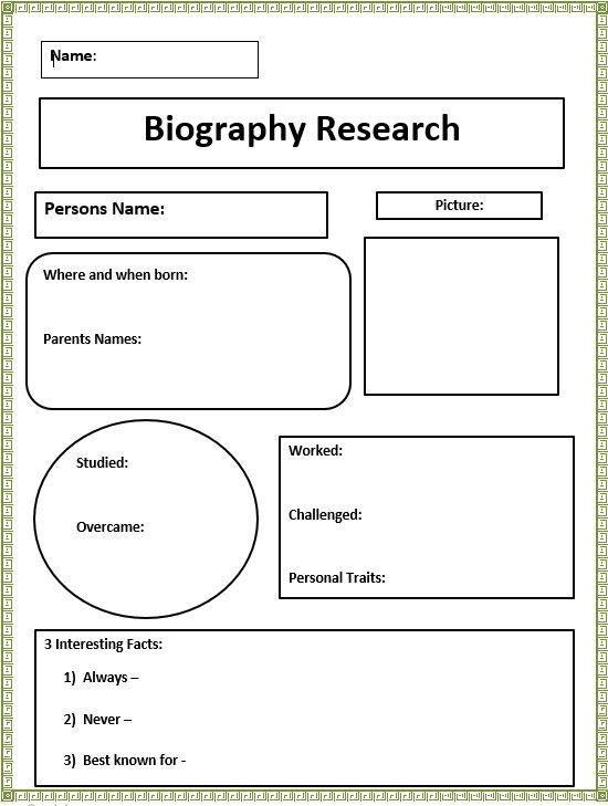 Short Biography Research Graphic Organizer