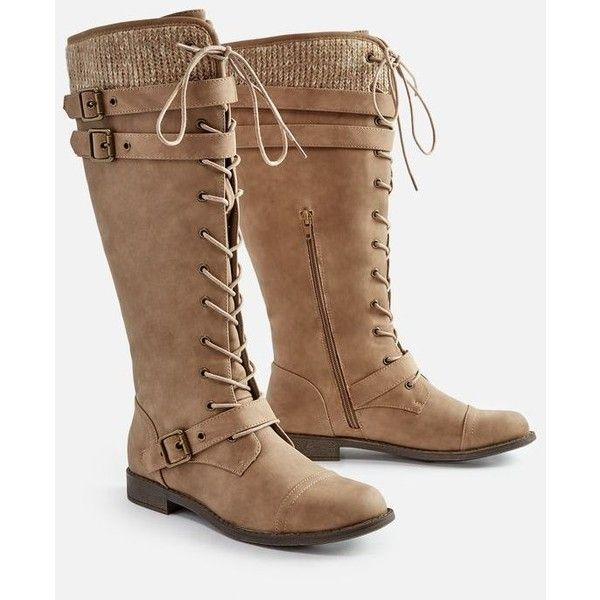 Justfab Flat Boots Delphinia Flat Boot ($50) ❤ liked on Polyvore featuring shoes, boots, brown, laced up boots, tall lace up boots, brown boots, brown lace-up boots and knee high buckle boots