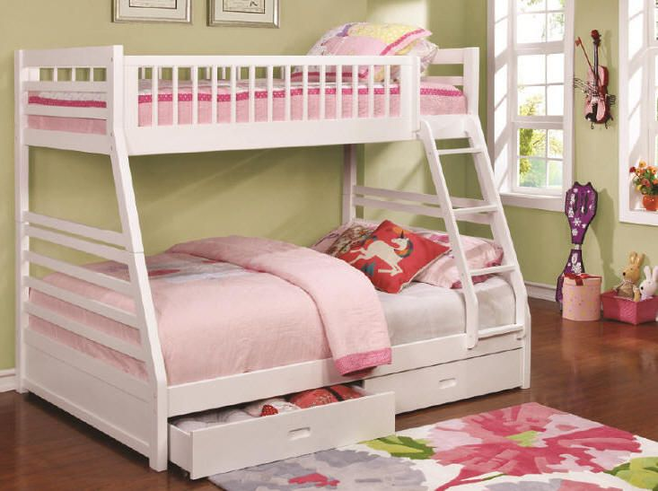 Annika White Twin Over Full Storage Bunk Bed