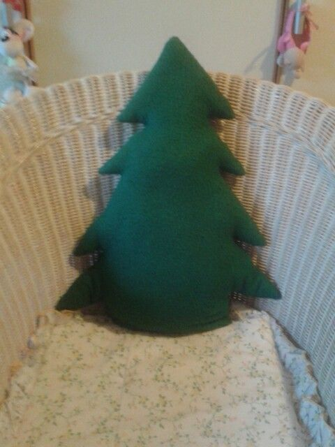 Christmas tree shaped pillow -  cotton