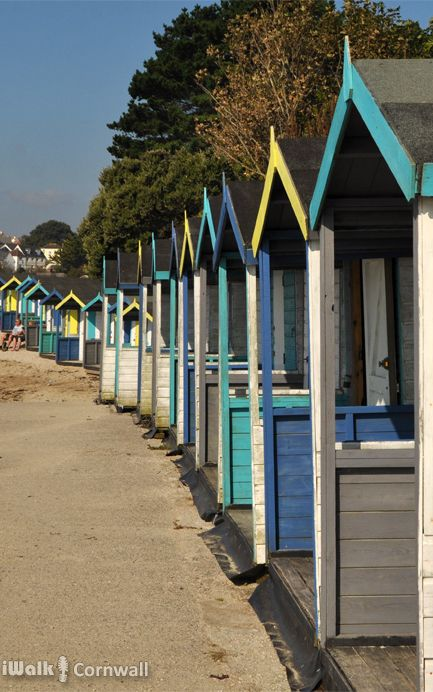 Beach huts at Swanpool, Falmouth, Cornwall