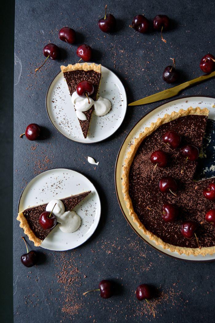 Cherry Chocolate Tart with whipped Cardamom Cream ° eat in my kitchen