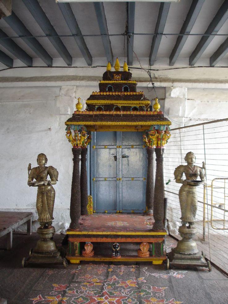 Portable shrine decorated with rudrakshas, Tamil Nadu