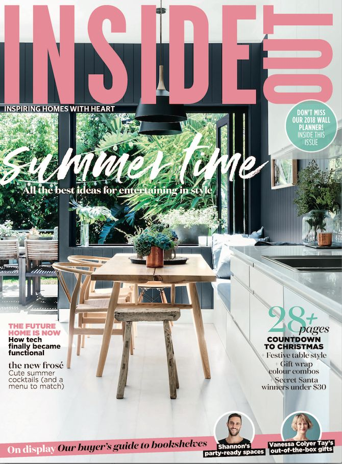 The cover of the December 2017 issue of Inside Out Magazine. Photography by Maree Homer. Styling by Hande Renshaw. Available from newsagents, Zinio, https://au.zinio.com/magazine/Inside-Out-/pr-500646627/cat-cat1680012#/  and Nook.