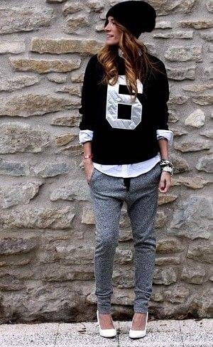 カジュアルシャツと合わせてマニッシュに!スウェットパンツのコーデ・スタイル・ファッション☆