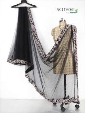 Black Net Saree with Diamond and Pearl Work