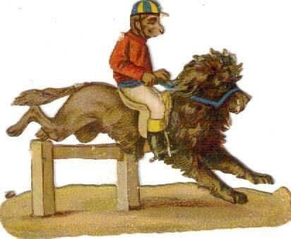 Whimsical Victorian Die Cut Scrap Monkey Jockey Rides a Lion c1880
