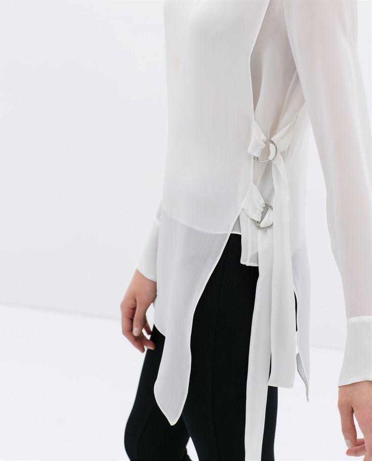 Koszula z bocznymi sprzączkami - Zara, 299zł http://www.zara.com/pl/pl/kobieta/koszule/koszula-z-serii-studio-z-bocznymi-sprz%C4%85czkami-c358004p1830509.html