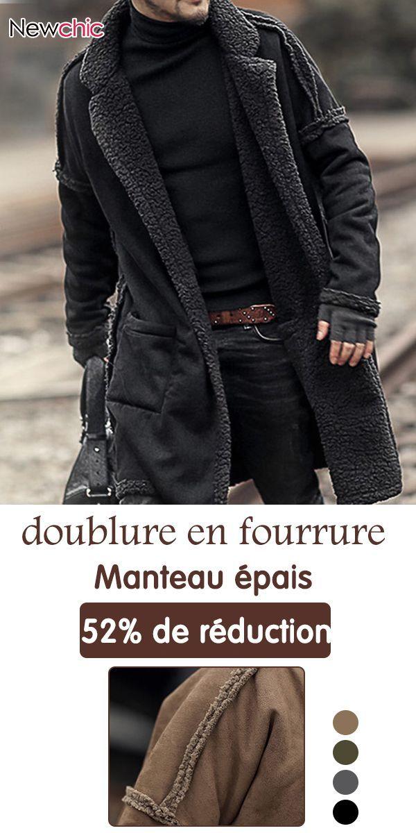 Manteau épais à doublure en fourrure chaude pour homme   Newchic ... 250cf4a66e4