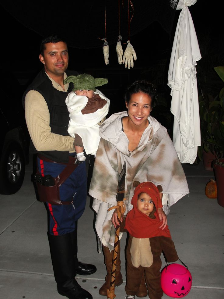 Homemade Star Wars family costumes! Han Solo, Princess Leia, Yoda, and an ewok. Best Halloween costumes to date.