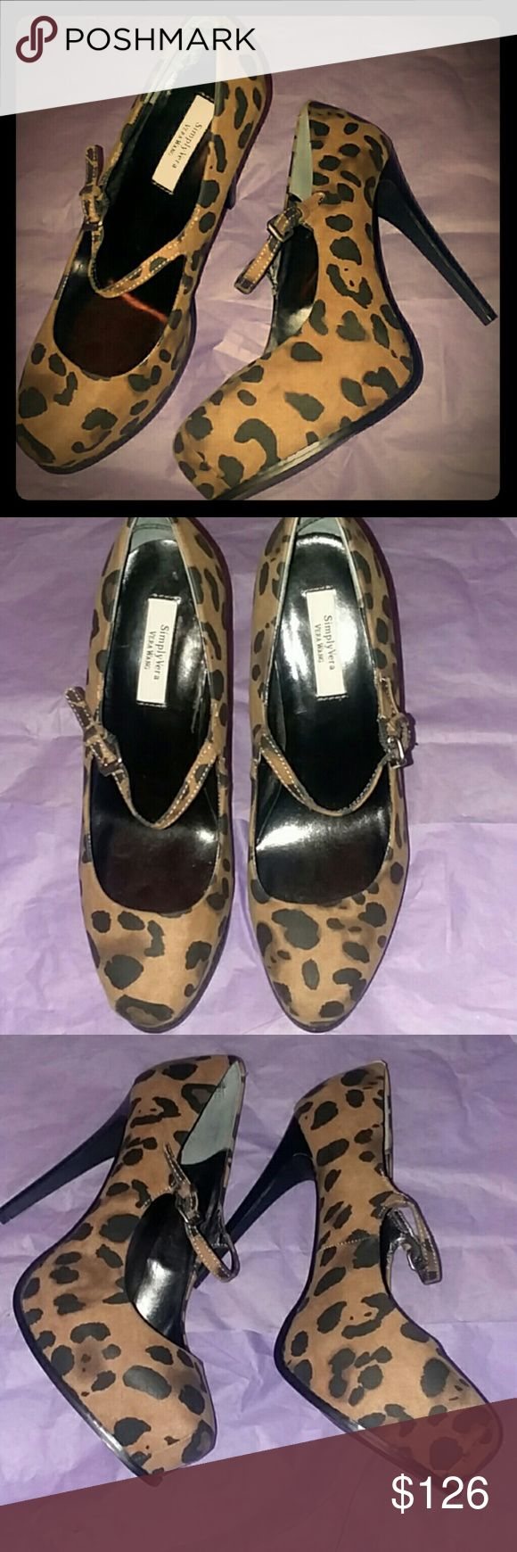 """Simply Vera VERA WANG Cheetah Heels Beautiful 5"""" heels with approx. 1"""" hidden platform. Excellent condition... only worn one time indoors. Bottoms show very minimal wear as shown in pic above.   🔷Thanks for checking out my closet!! 😙❤ 🔷All prices are negotiable, so don't be shy... make me an offer I can't resist!! 💃 🔷Any ✔'s, feel free to ask! 🤔 🚫Tradea Simply Vera Vera Wang Shoes Heels"""