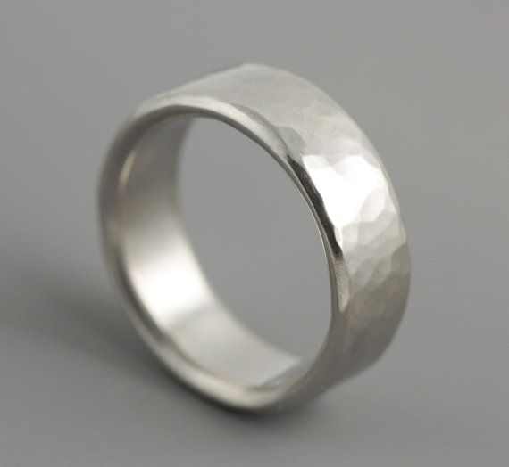 Man's Dune Wedding Ring in Palladium  Hammered by SarahHoodJewelry, $1100.00