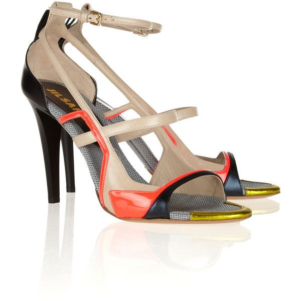 Jil Sander Color-block leather sandals ($394) ❤ liked on Polyvore featuring shoes, sandals, heels, neutral, heeled sandals, multi colored sandals, cut out sandals, leather shoes and high heeled footwear