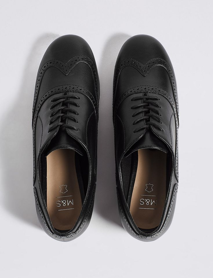 Leather block heel brogue shoes, Marks and Spencer, £50