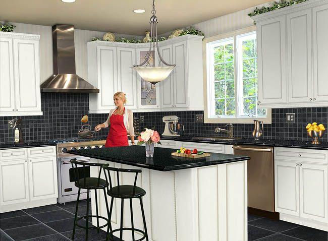 Черная плитка на кухне, интерьер, фото, видео | Kuhniplan.ru