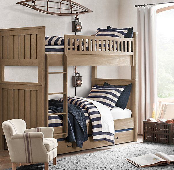 RH baby&child's Kenwood Twin-over-Twin Bunk Bed:Kenwood's planked panels borrow from the vernacular architecture of old American barns.