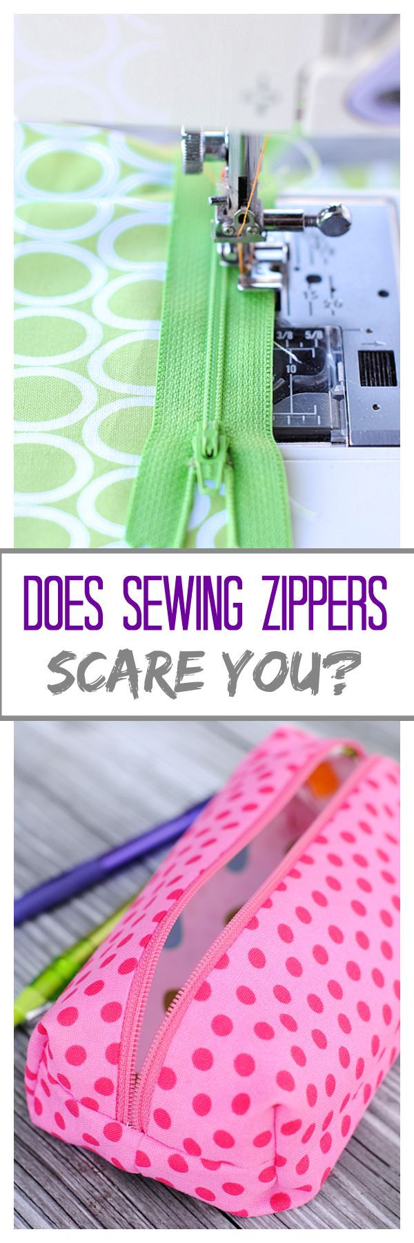 Are you scared of sewing zippers? Not anymore! Great tutorial