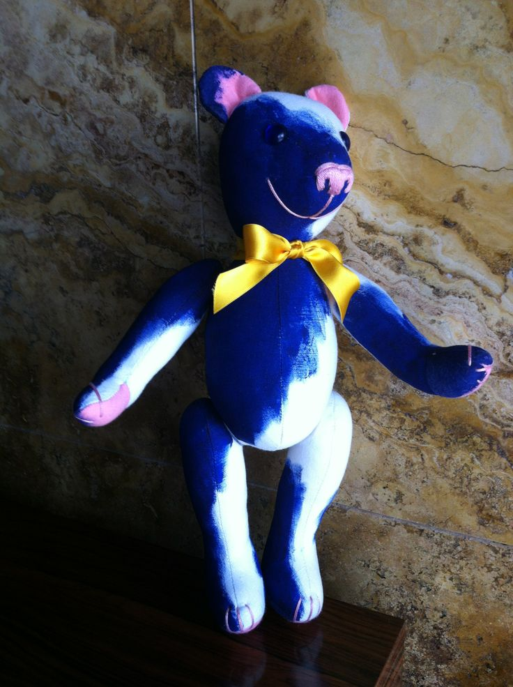 This is Klein III, a Baby Teddy Bear full of colour, for blue Klein lovers! By GSBears Barcelona
