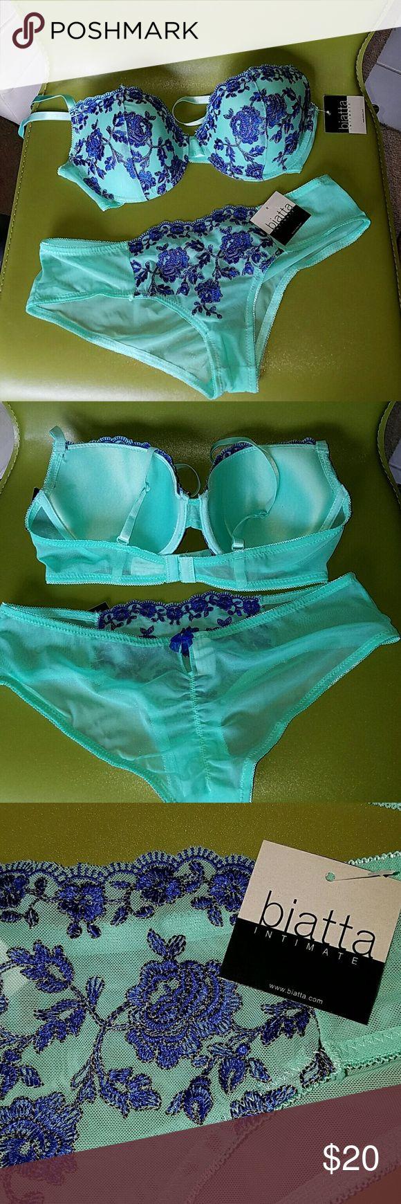 NWT Biatta Intimate Bra & Panty Set sz 36C/L NWT aqua and royal blue bra and panty set from Biatta. biatta Intimates & Sleepwear Bras