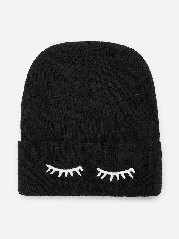 Eyelash Embroidery Beanie Hat -SheIn(Sheinside)  8eac40a94c2