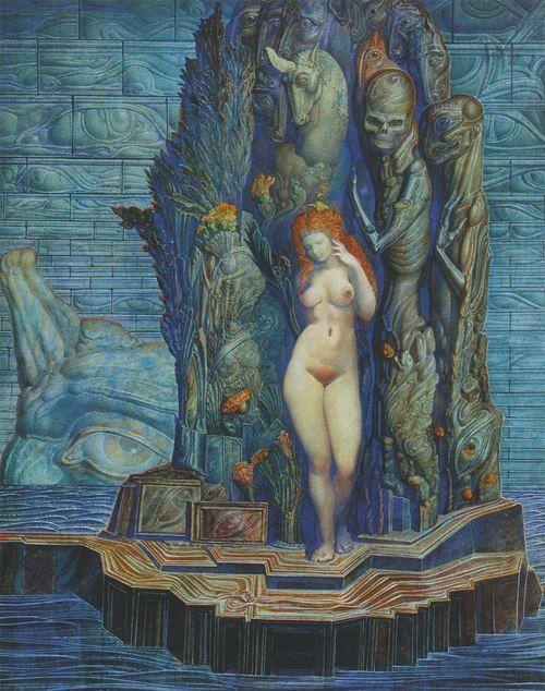 Ernst Fuchs - Aphrodite betritt die Augeninsel