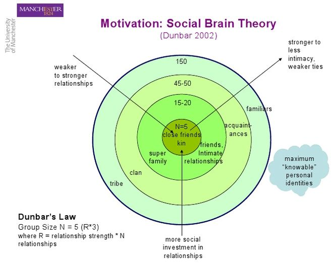 Social Brain Theory: Levels of social interaction, according to Dunbar