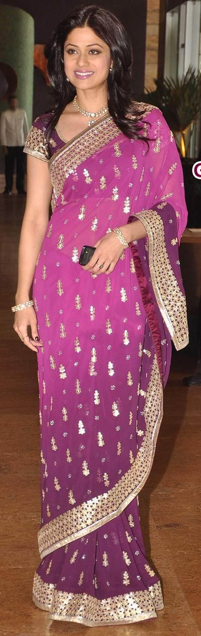 $128 Purple Georgette Bollywood Saree 20731 With Unstitched Blouse