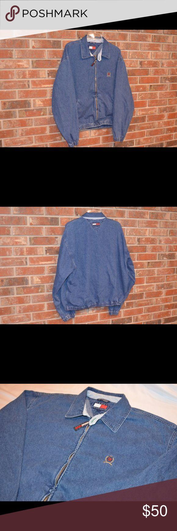 "Vintage Tommy Hilfiger Full Zip Denim Jacket Size: L Condition: 9/10 (excellent). No visible flaws. Measurements: 26"" (top to bottom) x 25.5"" (pit to pit) Tommy Hilfiger Jackets & Coats Bomber & Varsity"