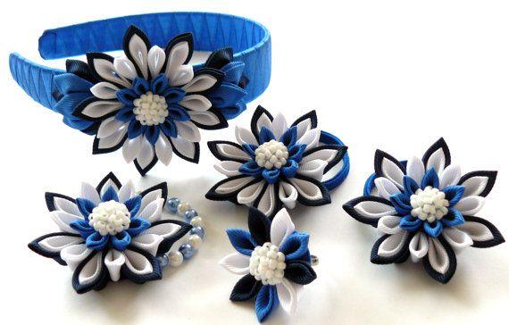 Kanzashi fabric  flowers. Set of 5 pieces. Navy blue by JuLVa, $30.00