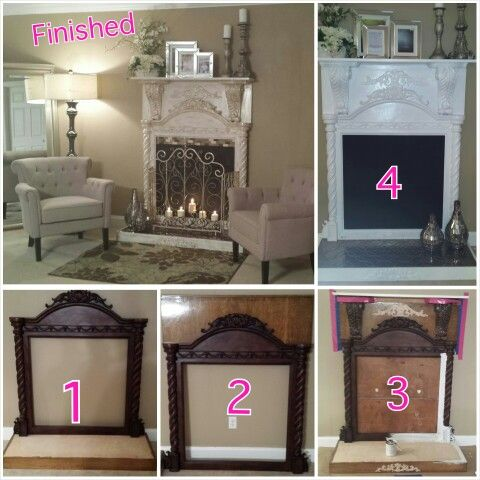 Faux fireplace made with a dresser mirror. Put some corbels on the top with plywood behind it. Spray or paint the plywood at the bottom ,paint it all white then antique it anyway you'd like. Add screen and candles and you're done. I get compliments on it all the time. Oh i also added some little tiles. I just hot glued them on and it worked.