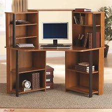 Home Office Desk With Hutch Corner Desks Workstation Storage Shelves Dorm Wood