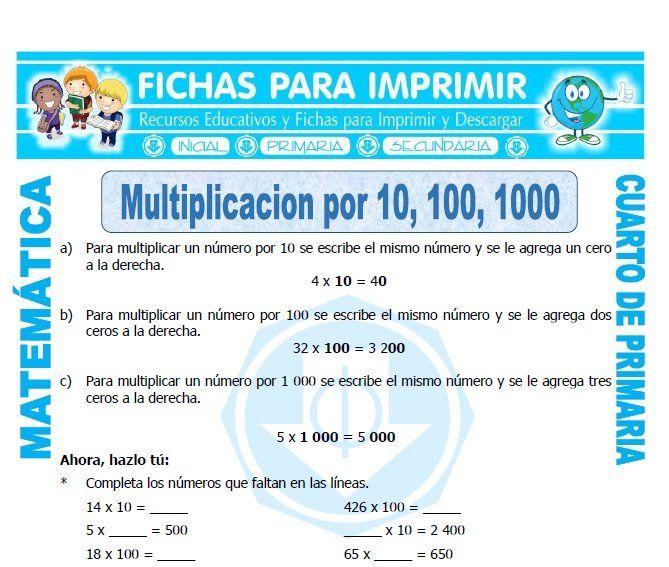 Ficha De Multiplicar Por 10 Para Cuarto De Primaria Problemas De Multiplicaciones Matematicas Primero De Primaria Problemas Matematicas 6 Primaria