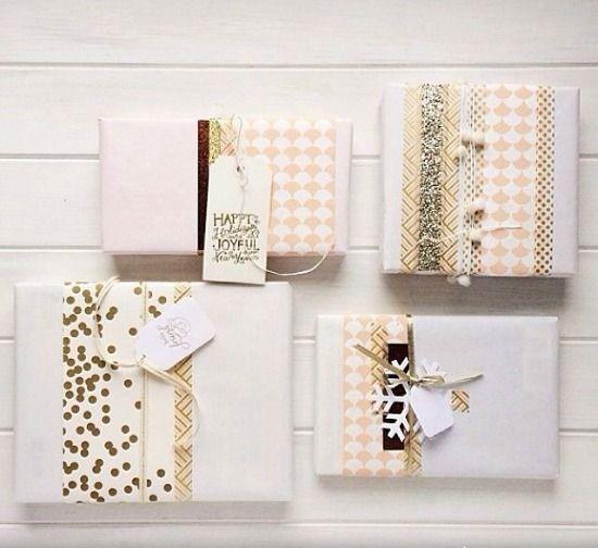 beautiful washi tape gift wrapping idea - 100 Christmas ideas - 5 themes