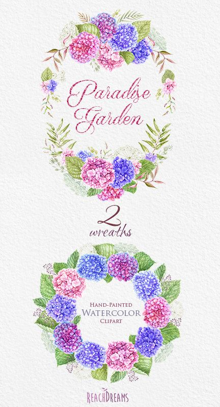 Wedding Watercolor Wreaths, Hydrangea flowers, Hand painted clipart, floral…
