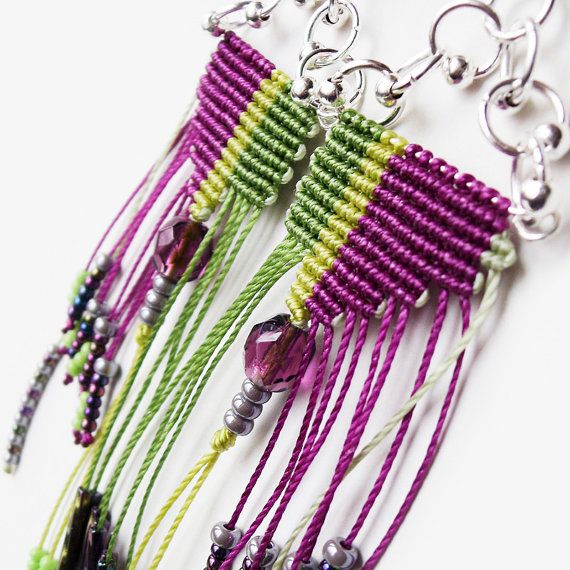 Original micro macrame earrings  Purple Green by MartaJewelry, $25.00