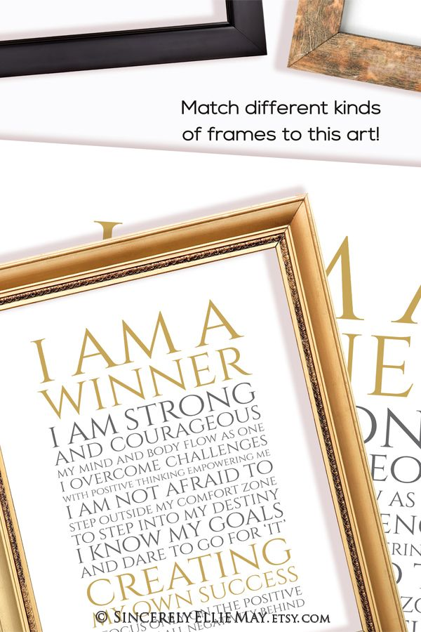 Positive Quotes Success Wall Art I Am A Winner Office Printable And Typography Poster Gift For Career Or Business Woman You Print 40406 Typography Poster Wall Art Quotes Success Quotes