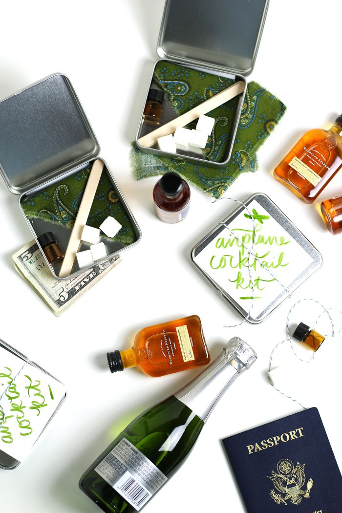 Make airplane cocktail kits, the perfect gift for anyone who travels. Each kit can make an easy Old-Fashioned cocktail or a fancy Champagne Cocktail. from @feastandwest