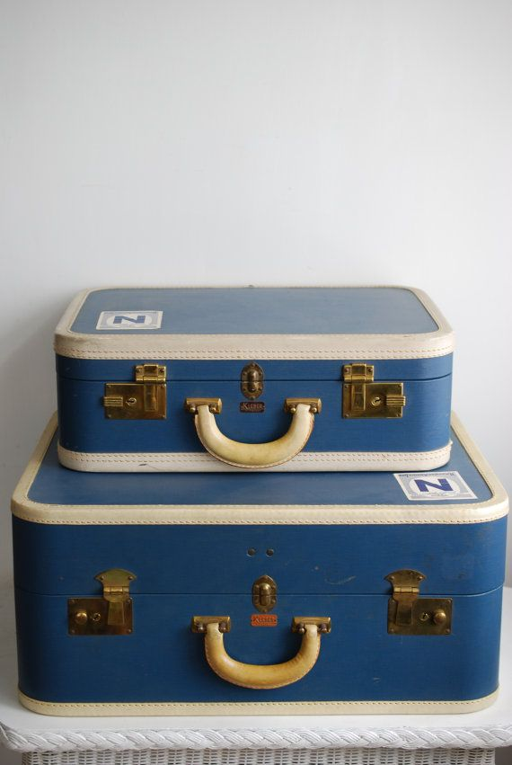 American Made Furniture >> Kleber Suitcase Set - Blue Trunk Accent Storage Luggage Stack Stackable Stacking Table Home ...