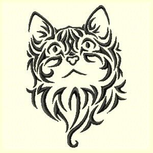 Tribal Cat Machine Embroidery Design
